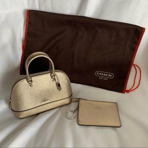 COACH Mini Gold Leather Bag & Matching Keychain